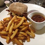 Pulled pork burger, baked beans, and frites!