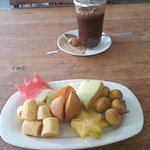 Fruit salad and Indonesian coffee