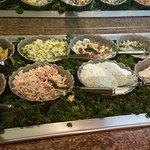 Homemade Pilmento Cheese, Fresh Crab salad, Pea salad and more