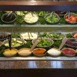 Nice variety of dressings, fresh vegetables