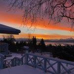 Sunrise over Kachemak Bay and Kenai Mountains,