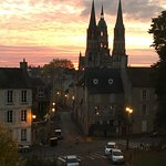 Sunrise over Bayeaux Cathedral from our room