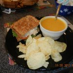 Pumpkin bisque and tuna sandwich