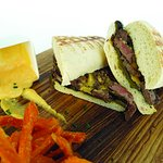 Waterfront Sandwich Beef Tenderloin, Roasted Bell Pepper and Cheddar Cheese Sauce with Ciabatta