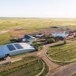 An aerial shot of Qantas Founders Museum and Longreach airport