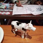 Kiddie fun! A mechanical cow, colouring kit, etc