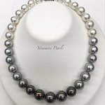 """<South Sea Pearl and Tahitian Gray Pearl Necklace>  Approximately 11.1~14.9mm in size with 17"""""""
