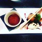 Chocolate Fantasy: Chocolate fondant, chocolate and cherry ice cream, white chocolate mousse