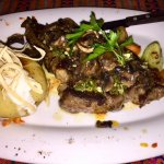 Excellant prime rib eye steak, perfect baked potato