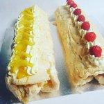 Lemon and strawberry fresh cream roulade