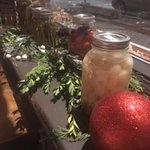 Christmas decorations along window ledge