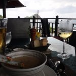 Seafood chowder and a great view of Pigeon Island.