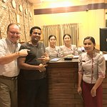 "Hotel 63 General Manager ""Prabat"" with Desk Staff and Dr. Bob D."