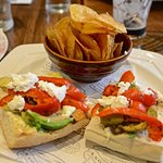Red pepper and avocado sandwich