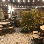 Beer Garden outside with first snow falling
