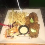 Fish, fries and salad