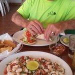 Large portion of shrimp ceviche