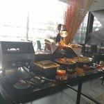 The breakfast buffet spread