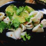 Steamed Squid in lemon sauce 150 baht