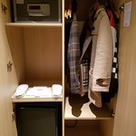 Mini-fridge with free bottled water; safe; mini-bar with hot water boiler