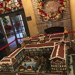 Gingerbread replica of the Inn on display in lobby.