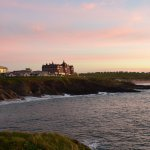 View from the walkway on the headland proper of the hotel at sunset