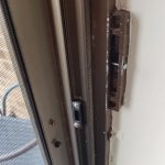 This is where they used a screw to allow us to latch the door, but did not allow a key lock