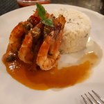 Prawns Maricudo in Garlic Basil Rice