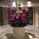 The lobby has beautiful flower arrangements, refreshed each day.