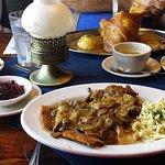 Chicken Schnitzel, Red Cabbage, Potatoe Soup and Schweinshaxe