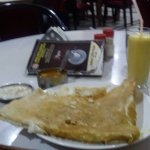 Rava Masala Dosa (one of the savoury pancakes with spiced potato stuffing) & mango milk shake