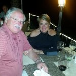 Barry and Cathy at our romantic table at 7 Seas