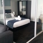 glass doors to close off if required, super comfortable bed