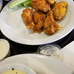 Portabella appetizer, calzone, and 1/2 order of wings