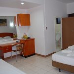 Superior Room with one Double and Single Beds and Shower, Toilet, Air-condition, Ceiling fan, pa