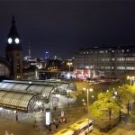 View of main station from room at night