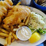 Halibut (2 piece) and chips and coleslaw