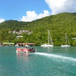 Ferry to Doolittles restaurant in Marigot Bay