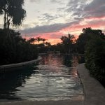 Sunset over the gorgeous pool.