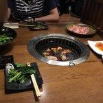 A selection of salad, pork, chicken, seafood and mushroom