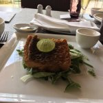 Grilled fish with a garden of greens