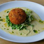 Fish Cake, pea a la Francaise and beurre blanc