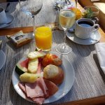 Breakfast. Juice, sparkling wine, coffee, fruits, cold meats and pastries!