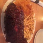 Rib platter with chips and fries