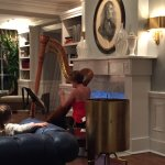 Harpist playing in the hotel lobby one evening
