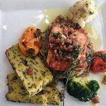 Lingot de saumon, compotée de fenouil et polenta