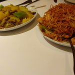 Curry Beef Chow Mein and Manchurian Shrimp & Chicken Chow Mein