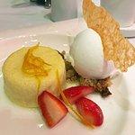 Lemon Pudding Cake dessert, closeup
