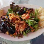 Undescribably delicious salad with fresh calamari, mussels, octopus, scallops & shrimp.