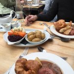 Amazing Sunday Roasts, Beef and the Trio of Roasts. Pear Tart and Gorgeous Cheesecake